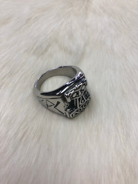Stainless Steel Mjolnir's Ring with Runes - Thor's Hammer