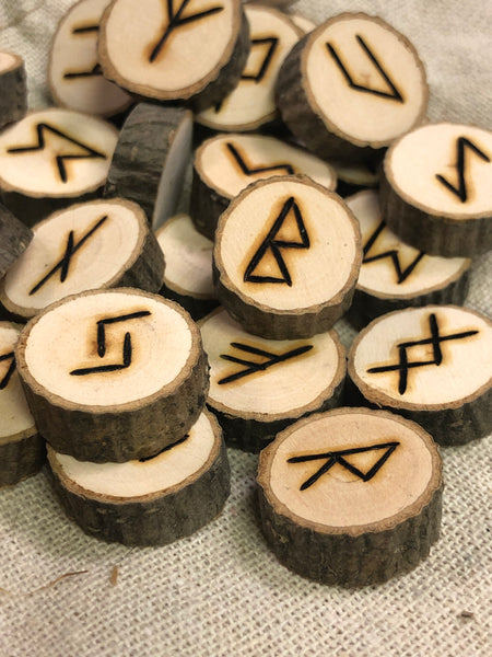 Handmade Woodburned Alder Rune Set