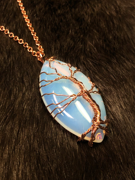 Large Opalite Pendant Tree of Life Wire Wrap