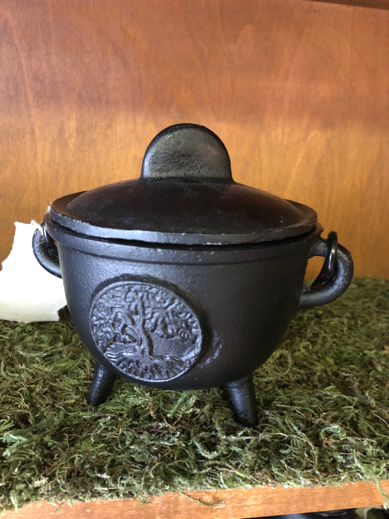 "5"" Cast Iron Cauldron with Lid and Yggdrasil"