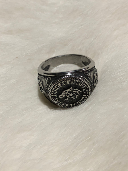 Nordic Wolf and Runes Ring