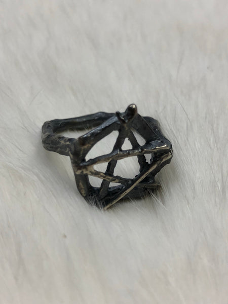 Burial Ground Mini Pentacle Ring - Sterling Silver