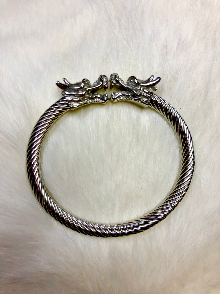 Stainless Steel Dual Dragon Head Bracelet
