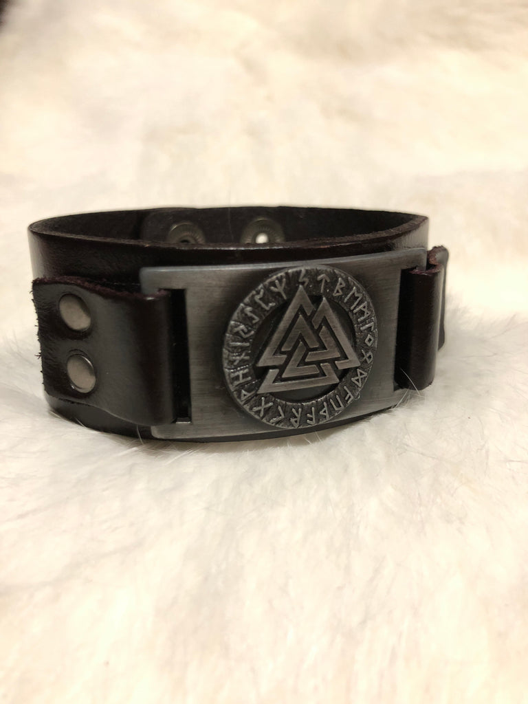 Leather Bracelet with Valknut and Runes
