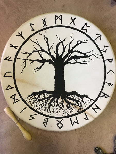 Nordic Bodhran Drum with Yggdrasil and Runes