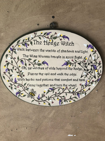 Hedge Witch Plaque - Hand Painted