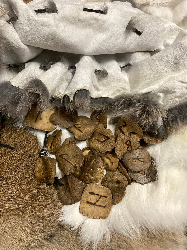 Alligator Scute Rune Set with Rabbit Pelt Bag