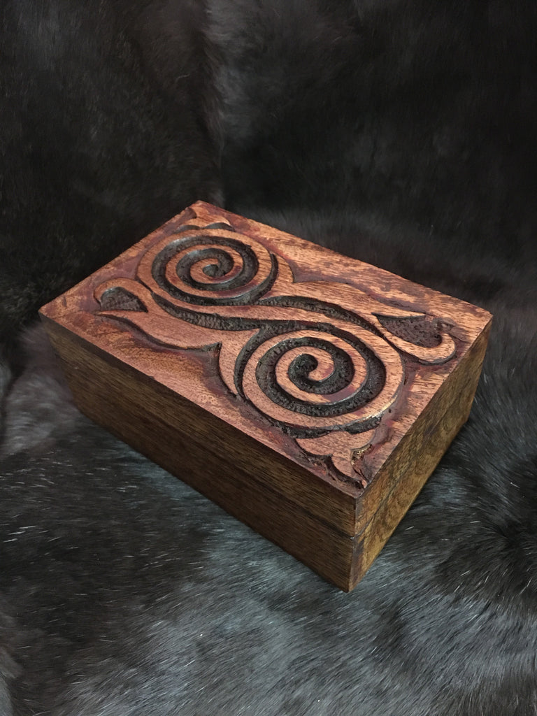 Carved Spiral Wooden Box