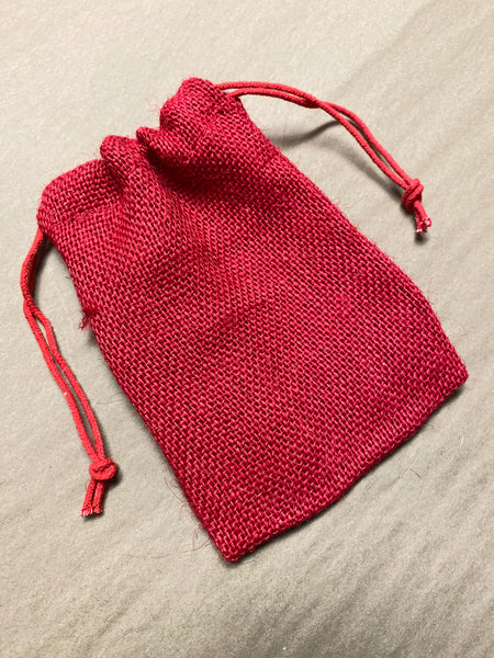 Red Burlap Bag