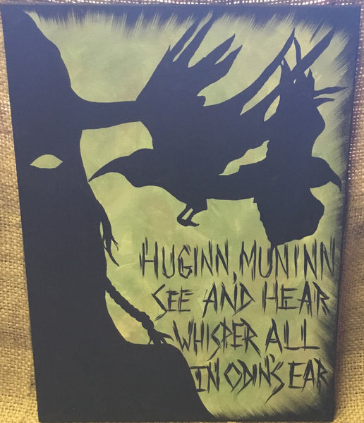 Huginn and Muninn with Odin Painting