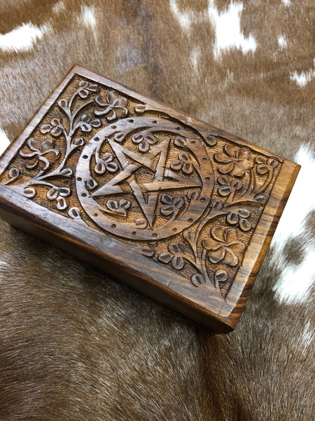 Carved Pentacle Wooden Box