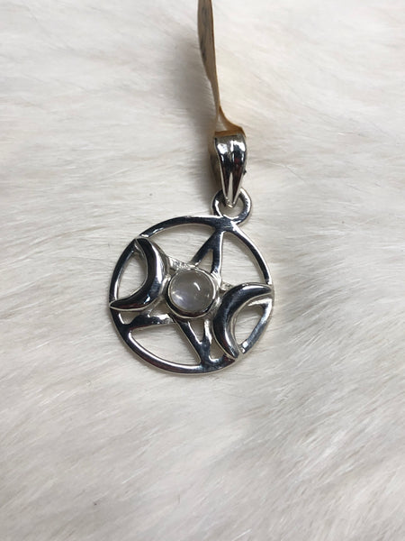 "3/4"" Sterling Sliver Triple Moon with Pentacle and Rainbow Moonstone Pendant"