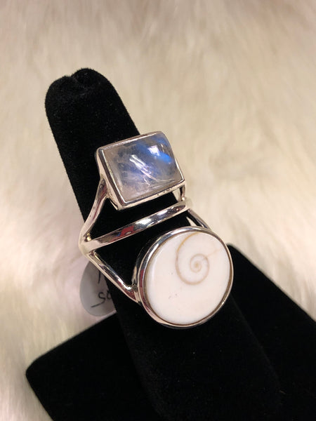Sterling Silver Eye of Shiva and Moonstone Ring