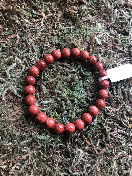 Gemstone Bead Bracelet - Red Goldstone