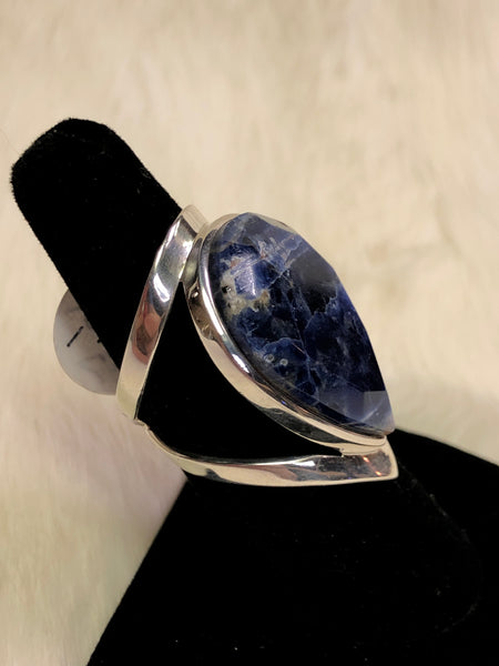 Sterling Silver Faceted Sodalite Ring