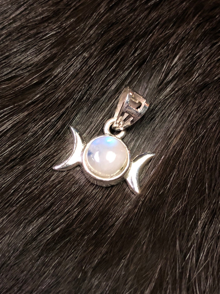 Triple Moon Pendant with Rainbow Moonstone