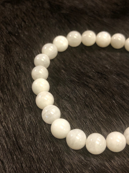 Gemstone Bead Bracelet  - Rainbow Moonstone