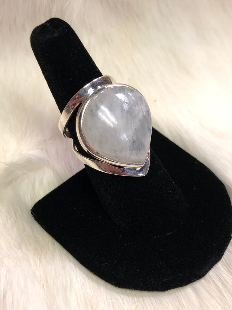 Sterling Silver Wide Style Tear Drop Moonstone Ring