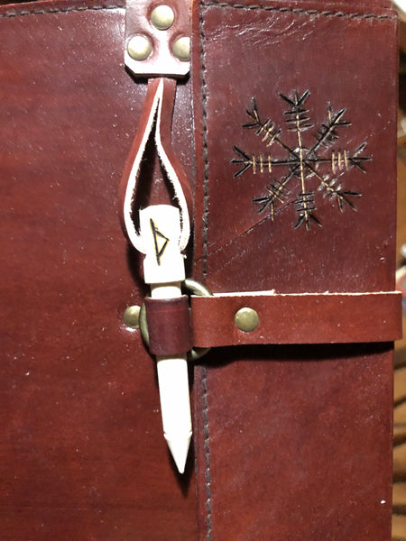 Custom Goat Leather Journal with Helm of Awe