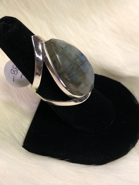 Sterling Silver Faceted Tear Drop Labradorite Ring