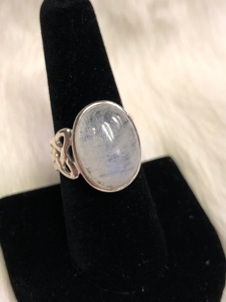Sterling Silver Celtic Band Moonstone Ring