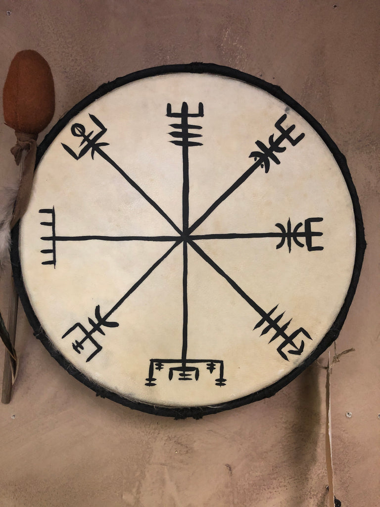 Hand Painted Ritual Drum - Vegvisir (Norse Compass)