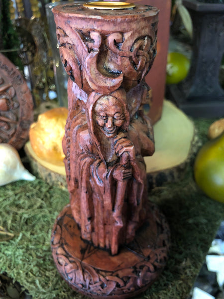Triple Goddess Candle Holder - Maiden, Mother, Crone