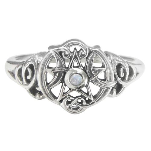 Sterling Silver Heart Pentacle Ring with Rainbow Moonstone