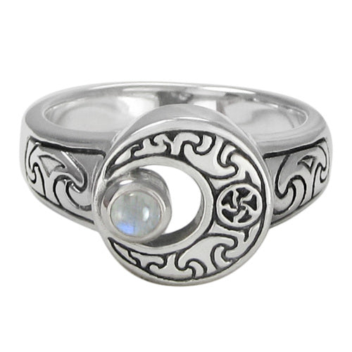Sterling Silver Crescent Moon Ring with Rainbow Moonstone