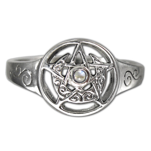 Sterling Silver Crescent Moon Pentacle Ring with Rainbow Moonstone