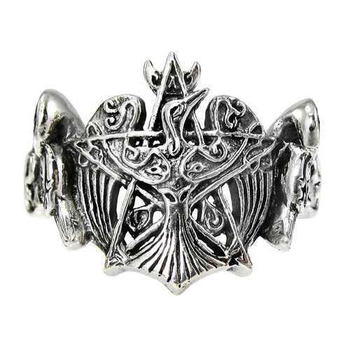 Sterling Silver Crescent Raven Pentacle Ring