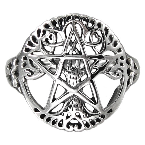 Sterling Silver Cut Tree Pentacle Ring