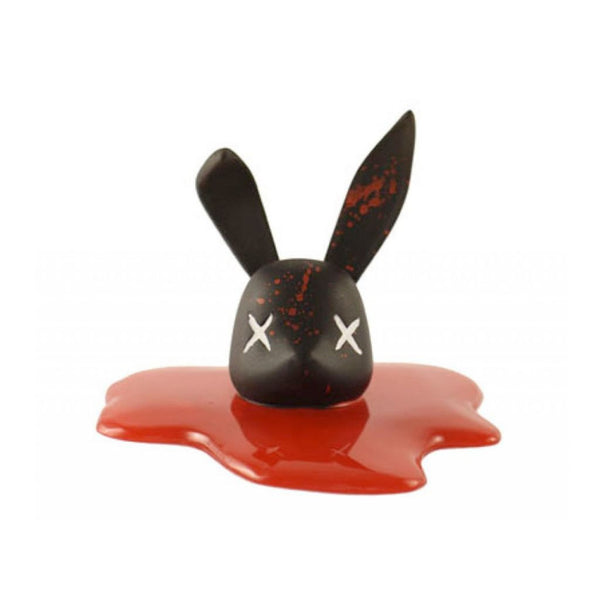 Decapitated Bunny Head - Black and Splattered