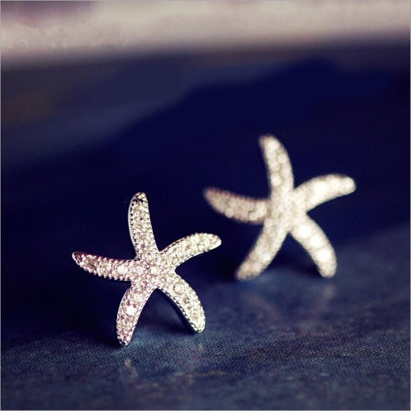 Silver Starfish -  Earrings