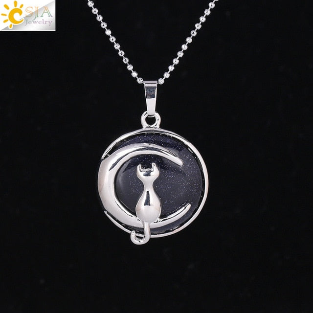 Natural Moon Charm - Cat Necklace