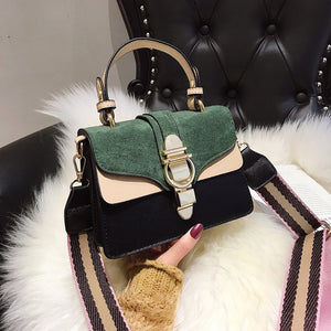 Miss Gina - Velvet & Leather Bag