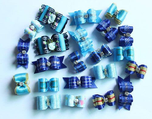 Blue Charmer - Pet Hair Bows (20pcs), Pet Hair Clips, Darlingg Doggy Store, Miss Molly & Co. - Miss Molly & Co.