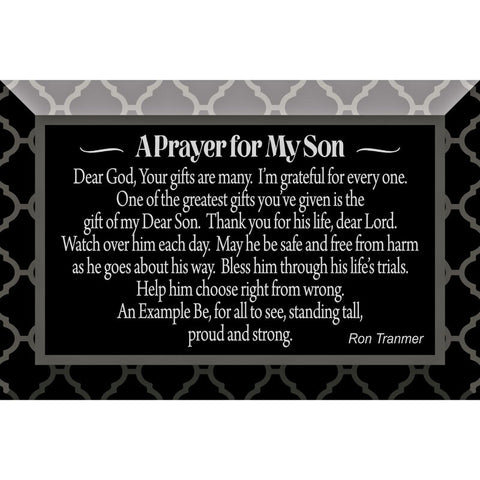 A Prayer For My Son Glass Plaque