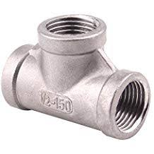 "Stainless Steel 1/2"" NPT TEE"