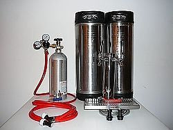 2 Tap Tower Kegerator Kit with 2 Pin Lock Kegs