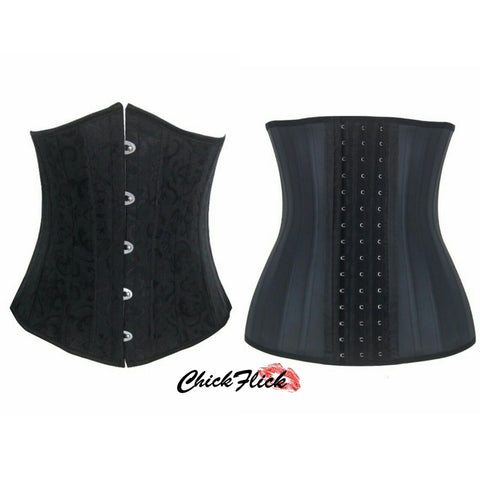 24-Boned Underbust Corset + 25-Boned Latex (Black or Nude) Combo