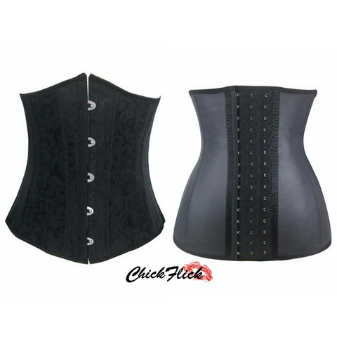 24-Boned Underbust Corset  + 9-Boned Latex (Black or Nude) Combo
