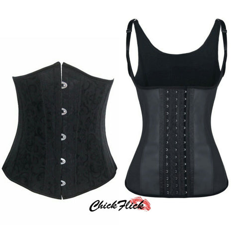 24-Boned Underbust + 12-Boned Vest Latex (Black or Nude) Combo