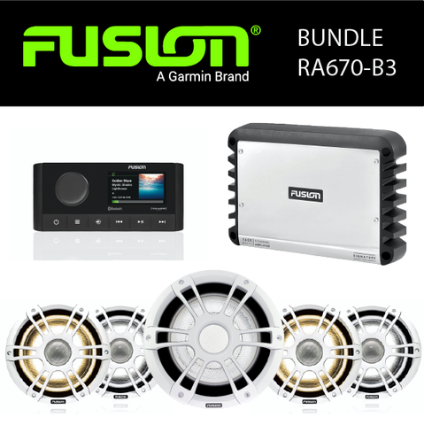 Fusion Marine Audio - MS-RA670 Stereo, Amplifier, Speaker & Sub Party Bundles