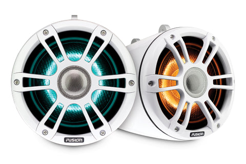 "Fusion - Signature Series 3 8.8"" Sports White Marine Wake Tower Speakers with CRGBW"
