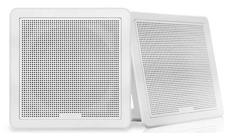 "Fusion - FM Series 7.7"" 200 Watt Flush Mount Square Marine Speakers - FM-F77SW (White) 