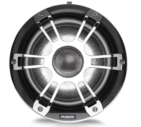"Fusion - 8.8"" 330 Watt Coaxial Wake Tower Sports Chrome Marine Speakers with LEDs - SG-FT88SPC (Gun Metal / Chrome) 