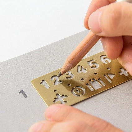 Traveler's Company - Brass Template Bookmark - Numbers