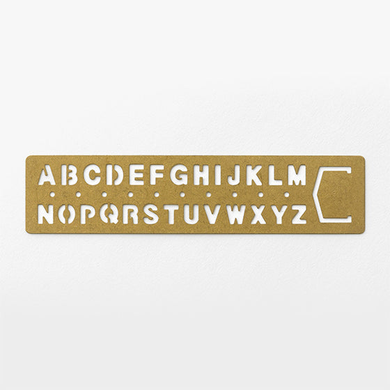 Traveler's Company - Brass Template Bookmark - Alphabet