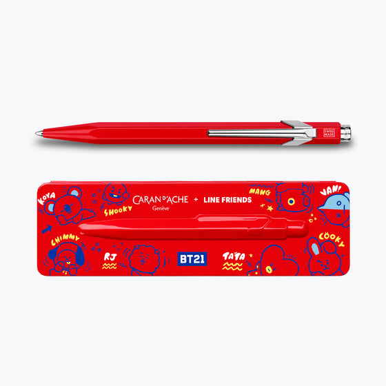 Caran d'Ache - Ballpoint Pen - 849 Bar - Caran d'Ache + LINE FRIENDS (Red)